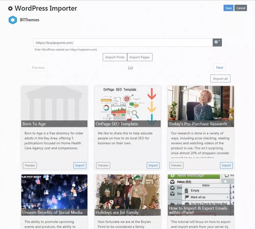 WordPress Importer for Bludit CMS version 3.3+