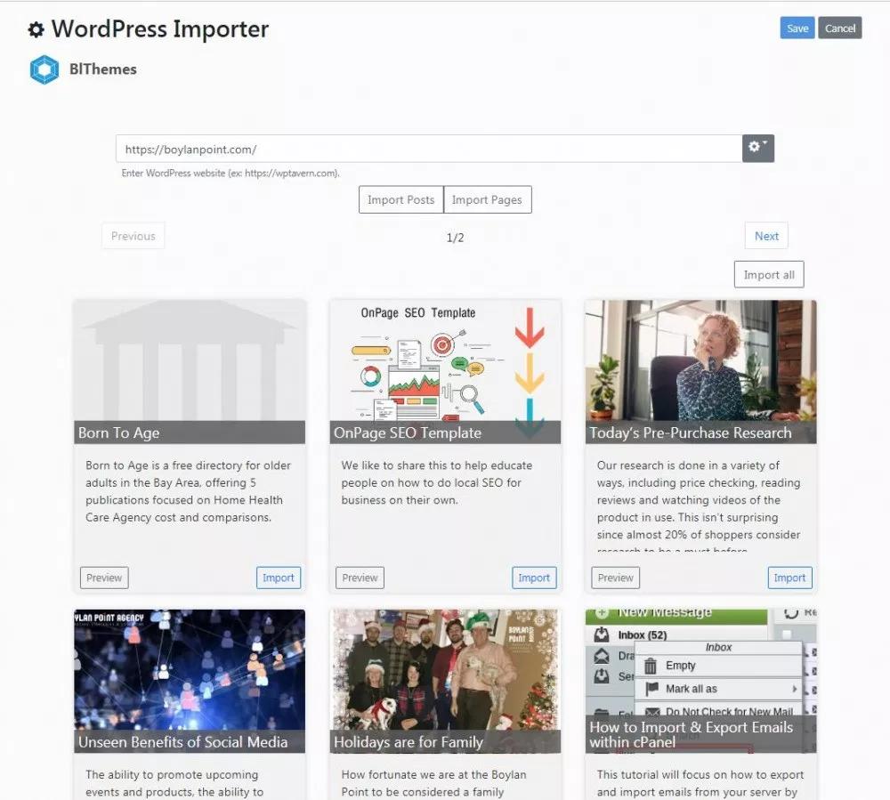 WordPress Importer for Bludit CMS version 3.3+